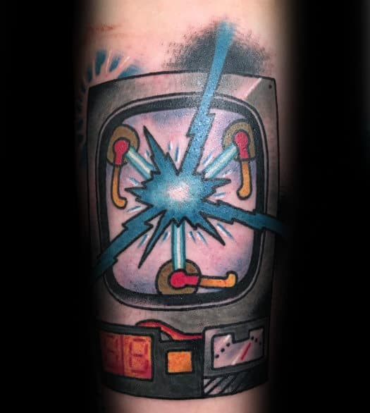 Flux Capacitor Back To The Future Mens Outer Forearm Tattoo