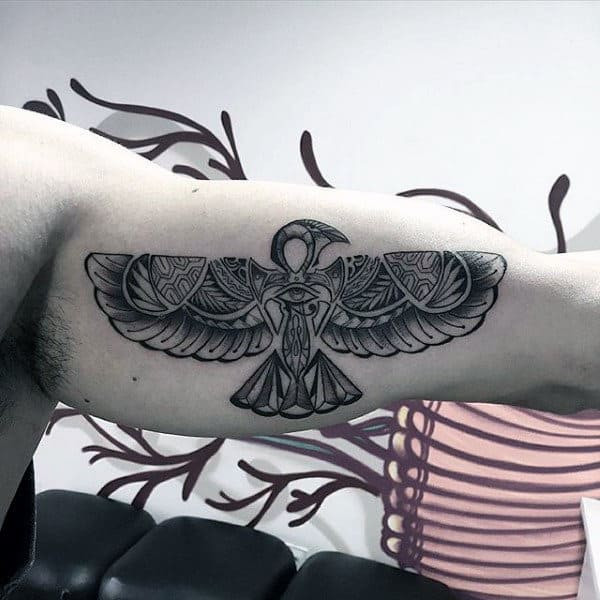 Flying Ankh Male Bicep Tattoos