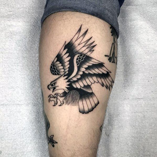 Flying Bald Eagle Simple Traditional Guys Leg Tattoos