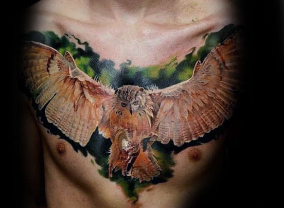 Flying Barn Owl Realistic Upper Chest Tattoos For Guys
