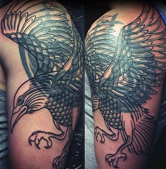 Flying Bird Blast Over Tattoos Men On Arm