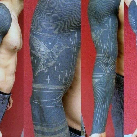 Flying Bird Full White Ink Blackwork Mens Sleeve Tattoo