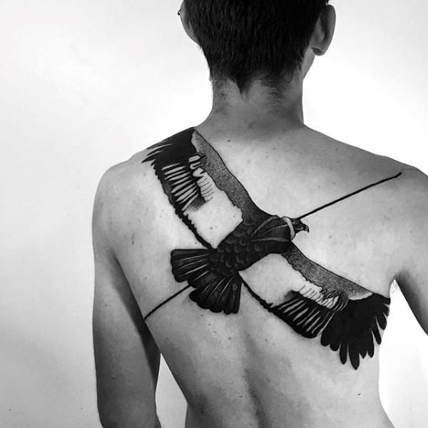 Flying Bird Unique Male Back Tattoos