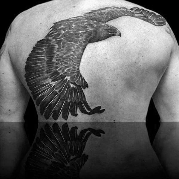 Flying Black And Grey Ink Shaded Eagle Male Back Tattoos