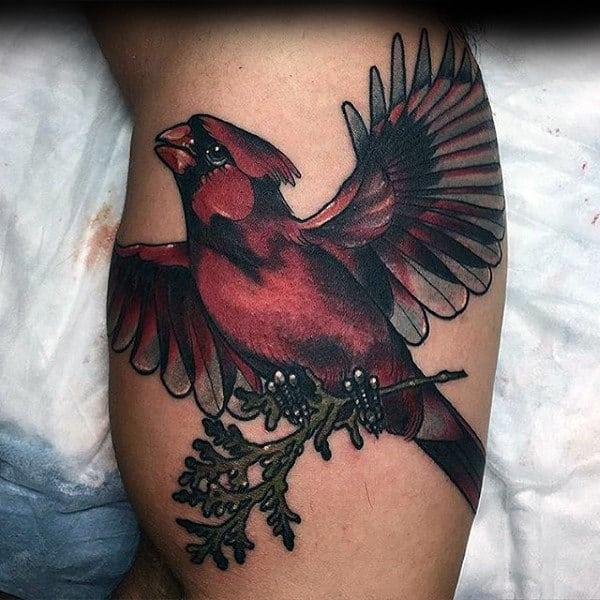 Flying Cardinal Mens Neo Traditional Leg Calf Tattoos