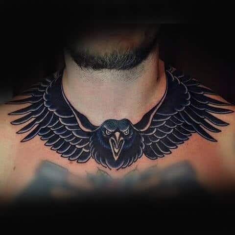 Flying Crow Collar Bone Tattoos For Men