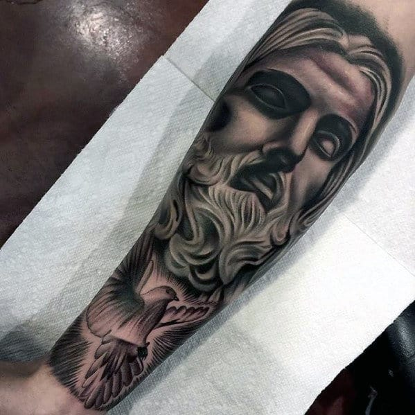 Flying Dove With Jesus Religious Male Forearm Tattoos