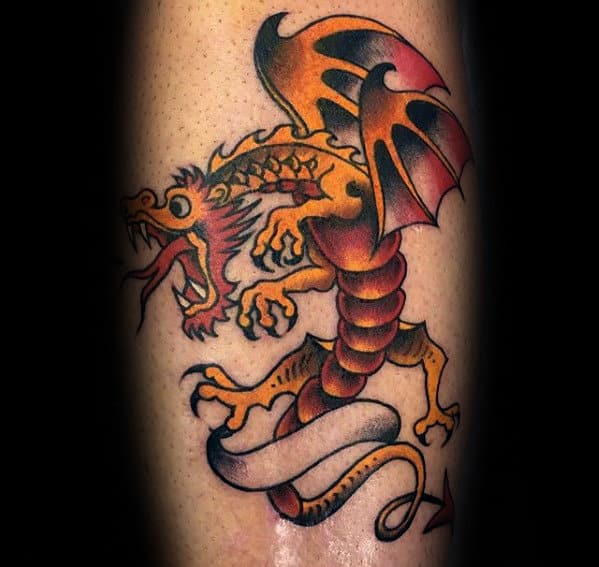 Flying Dragon Small Mens Leg Tattoo