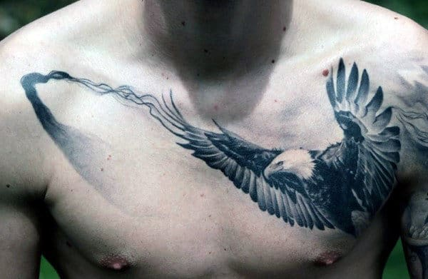 Flying Eagle With Faded Line Badass Chest Tattoos For Guys