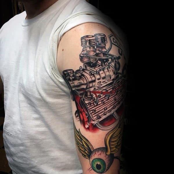 50 Engine Tattoos For Men - Motor Design Ideas