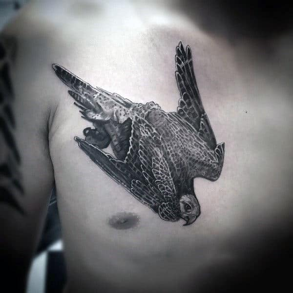 Flying Falcon Mens Shaded Ink Upper Chest Tattoo Design Ideas