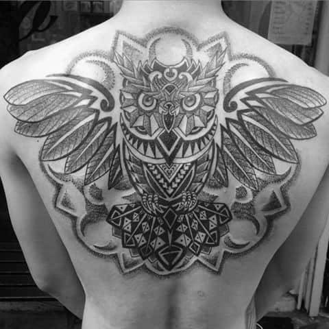 Flying Geometric Owl Feathers Mens Back Tattoo