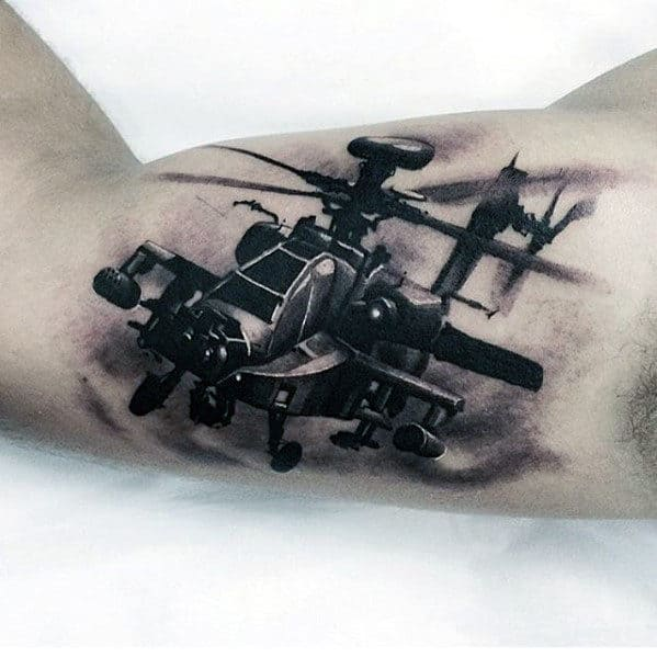 Flying Helicopter Different Mens Inner Arm Bicep 3d Tattoo