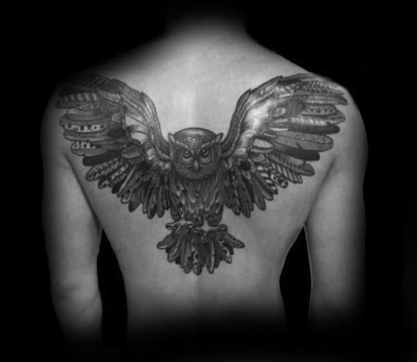Flying Owl Feathers Guys Cool Upper Back Tattoo Design Ideas