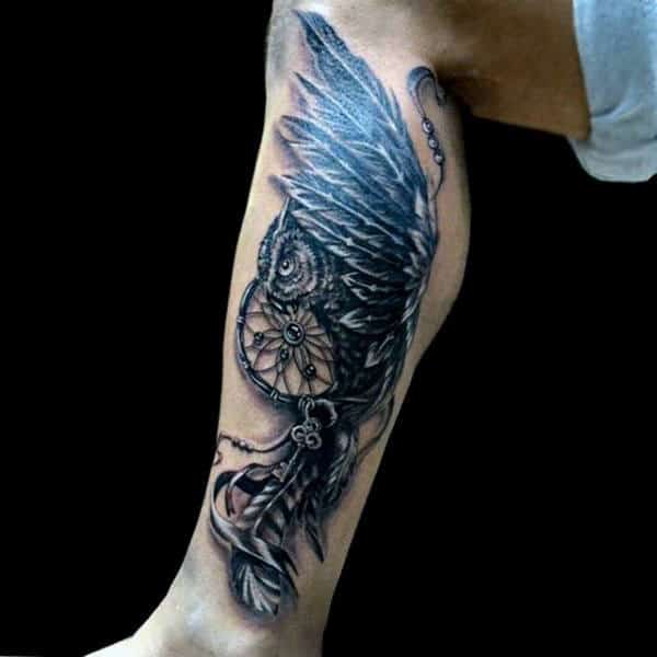 Flying Owl Guys Leg Tattoo Of Dreamcatcher