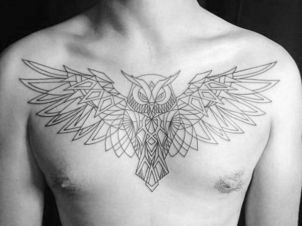 Flying Owl Male Geometric Upper Chest Tattoos