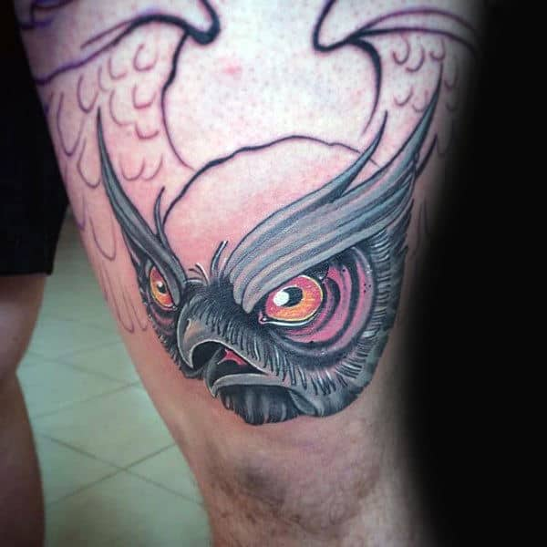 Flying Owl Mens Knee Tattoo New School Ideas