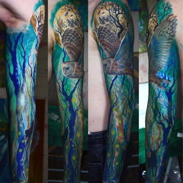flying-owl-mens-tree-sleeve-tattoos