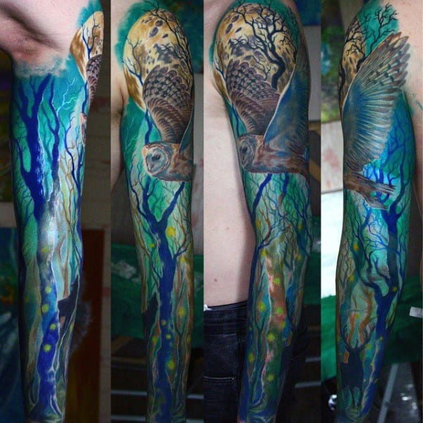 Flying Owl Mens Tree Sleeve Tattoos