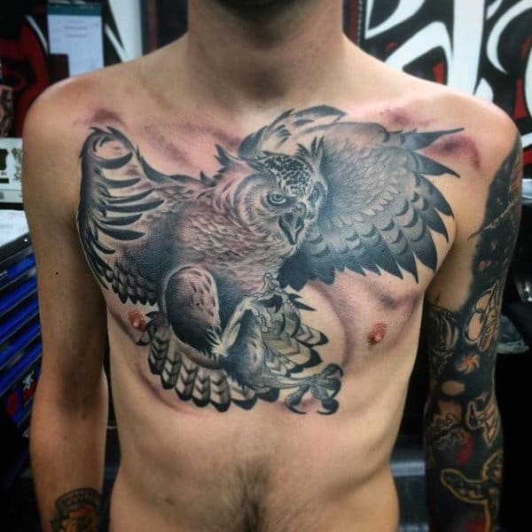 Flying Owl Upper Chest Guys Tattoos