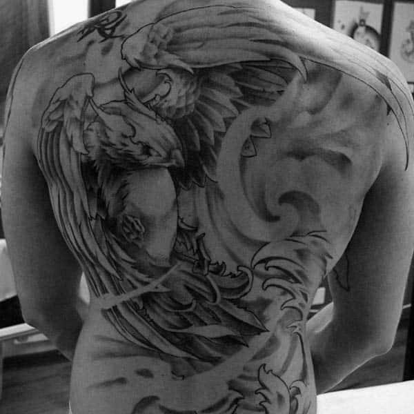 Flying Phoenix Mens Shaded Back Tattoo
