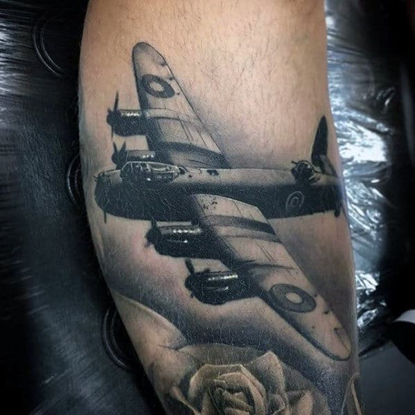Flying Plane 3d Realistic Different Leg Tattoos For Men