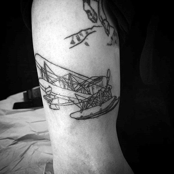 Flying Plane Minimalist Guys Tattoo On Upper Arm