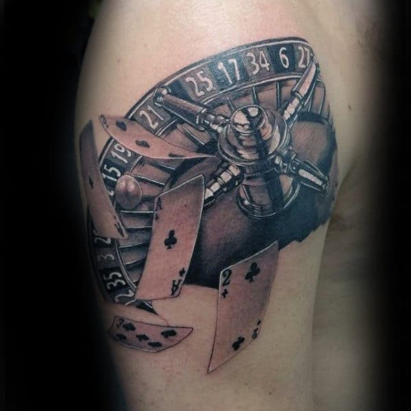 Flying Playing Cards Mens Upper Arm Tattoos