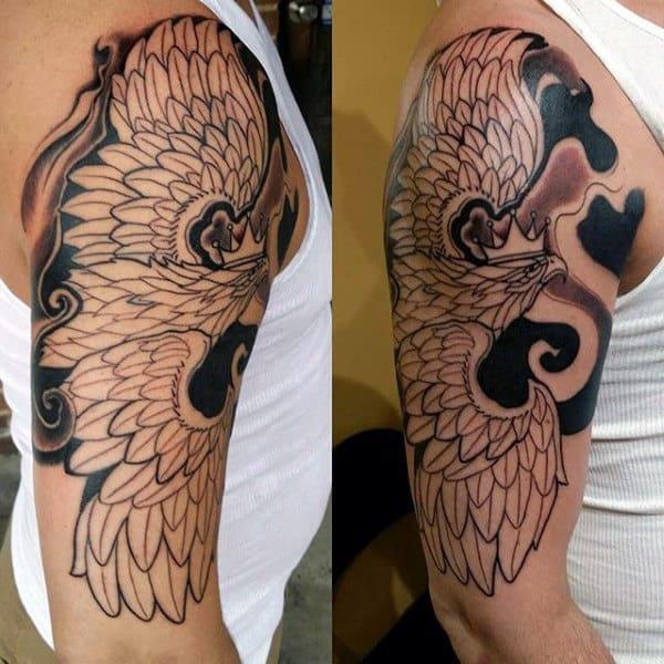 Flying Polish Eagle Half Sleeve Male Tattoos