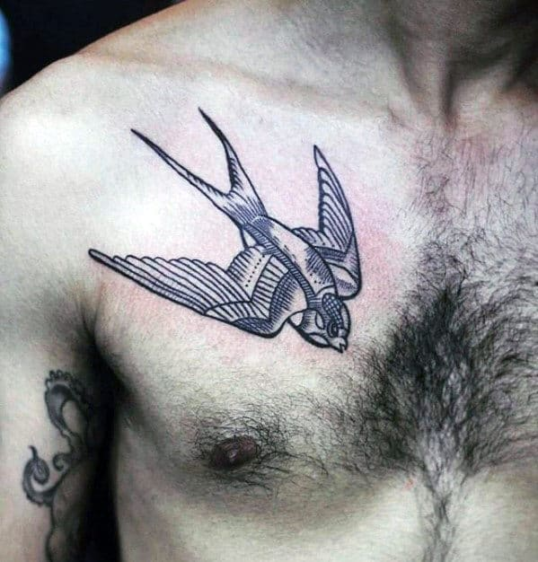 Flying Sparrow Mens Small Chest Tattoos