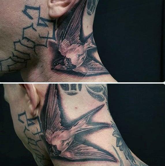 Flying Sparrow Tattoo Mens Neck