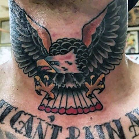 Flying Traditional Bald Eagle Mens Neck Tattoos