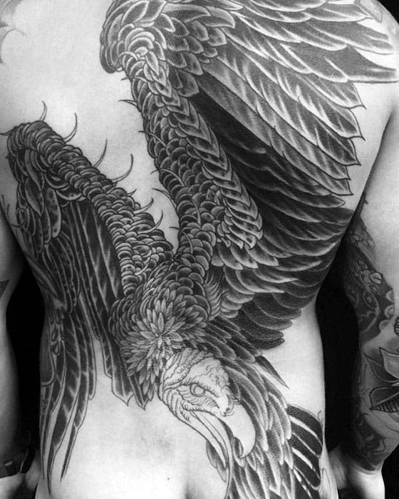 Flying Vulture Wings Male Back Tattoos
