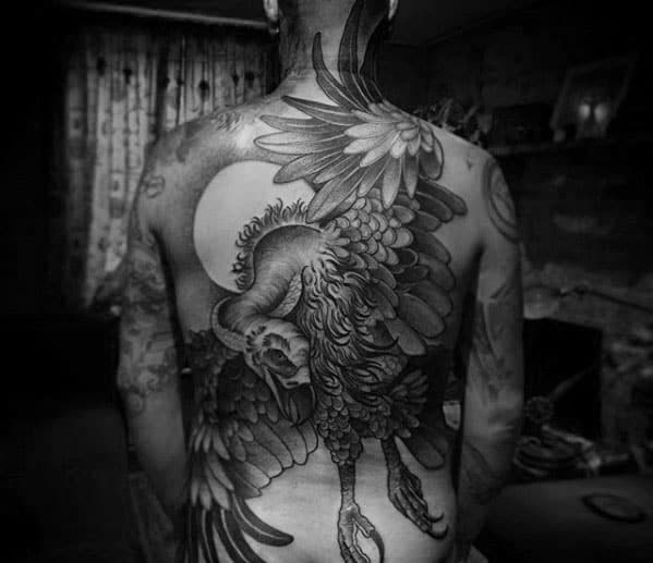 Flying Vulture With Moon Mens Full Back Tattoos