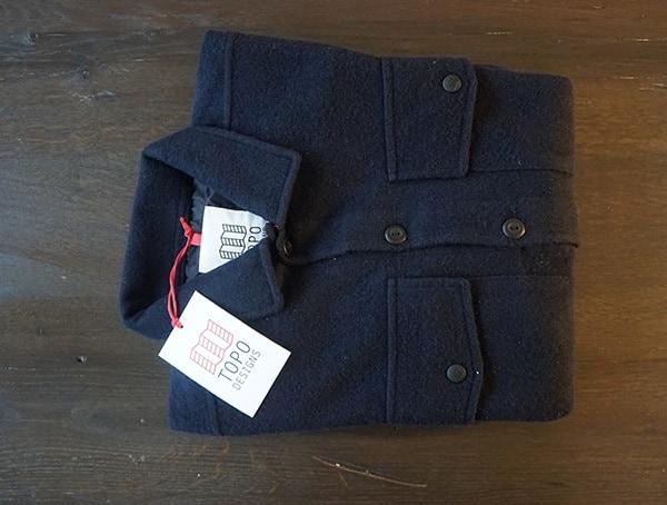 Folded Guys Topo Designs Wool Navy Long Sleeve Button Down Shirt