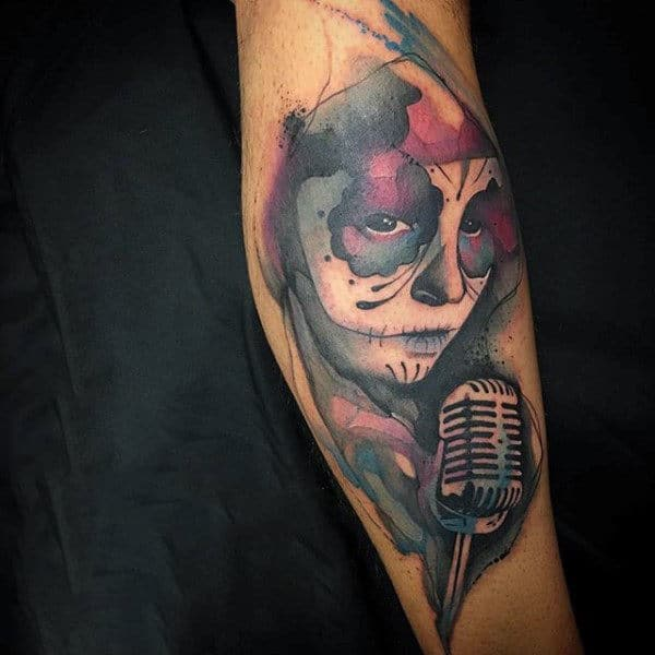 Folksy Lady Singing Watercolor Tattoo On Elbows For Guys
