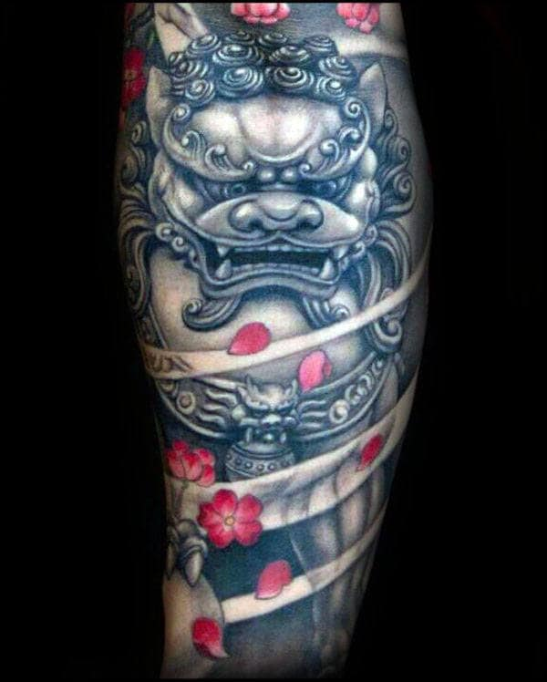Foo Dog With Flower Petals Mens Sleeve Tattoo