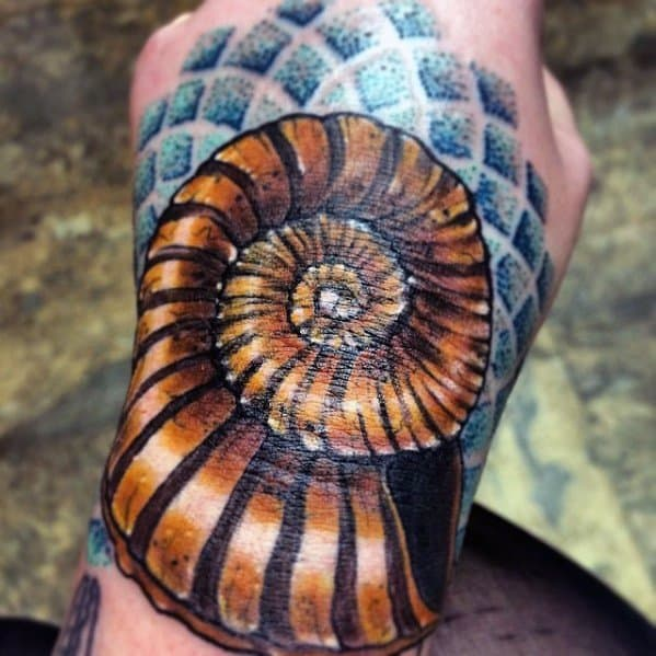 Foot 3d Creative Ammonite Tattoos For Men