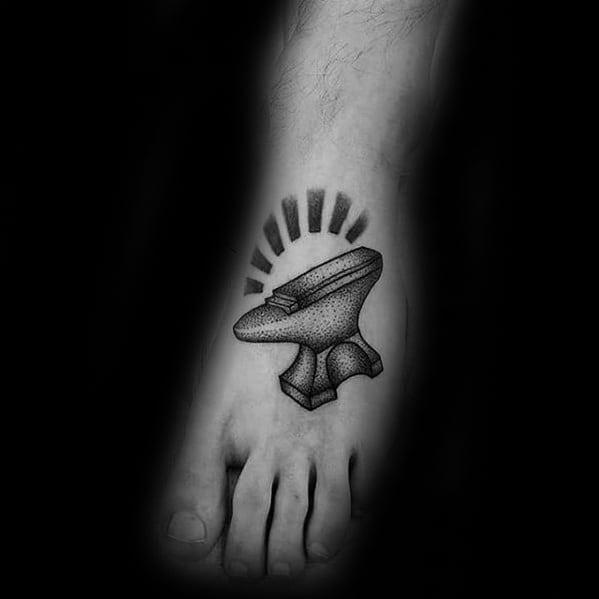 Foot Anvil Tattoo Designs For Men