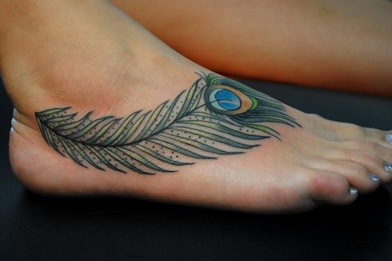 Foot Colored Peacock Feather Tattoo