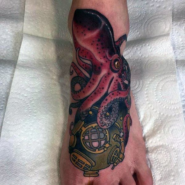 Foot Diving Helmet With Squid Traditional Guys Tattoo Designs