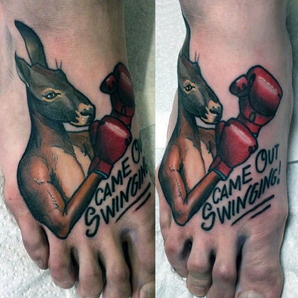 Foot Male Boxing Kangaroo Came Out Swinging Quote Tattoo Designs