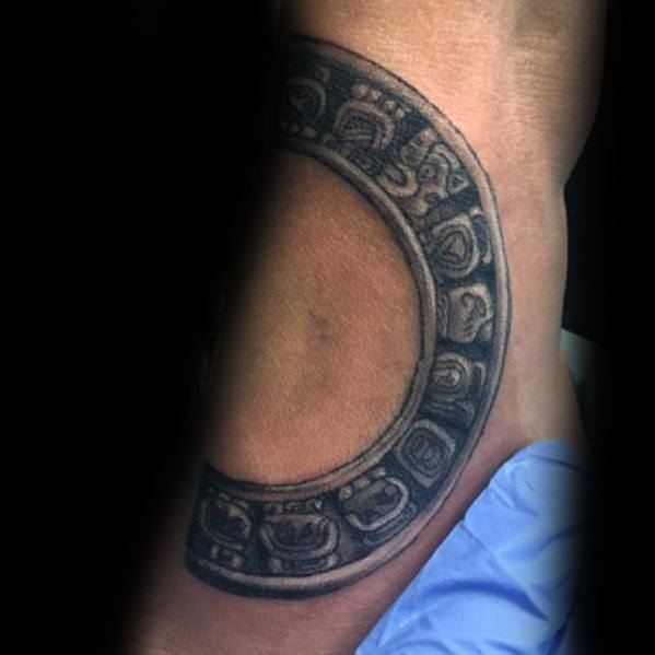 Foot Mayan Calender Mens Tattoo Designs