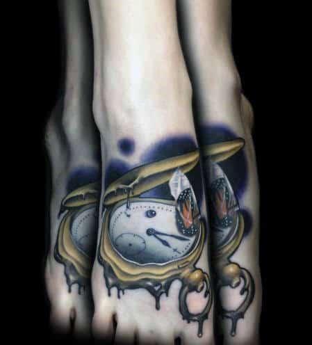 Foot Melting Clock Mens Tattoos