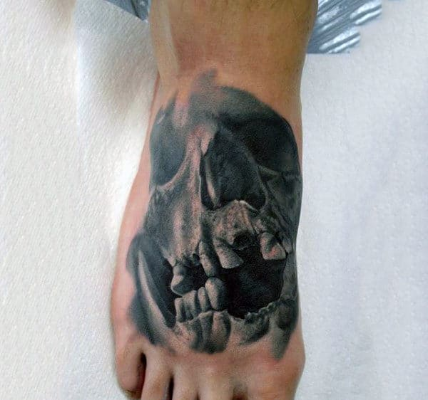 Foot Mens Terrific Skull Tattoo