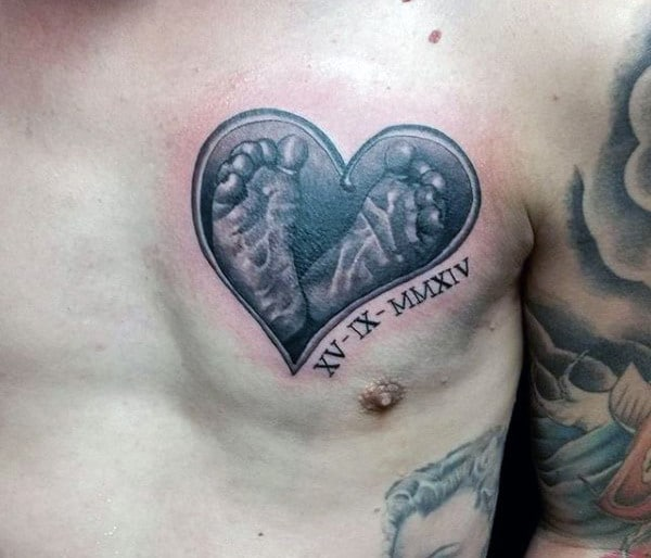 Foot Print Heart Father Son Tattoo For Men On Chest