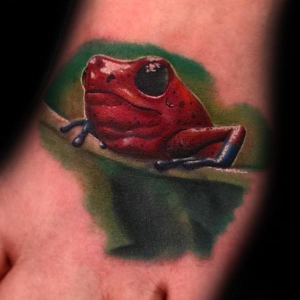 Foot Red Tree Frog Tattoo Designs For Guys