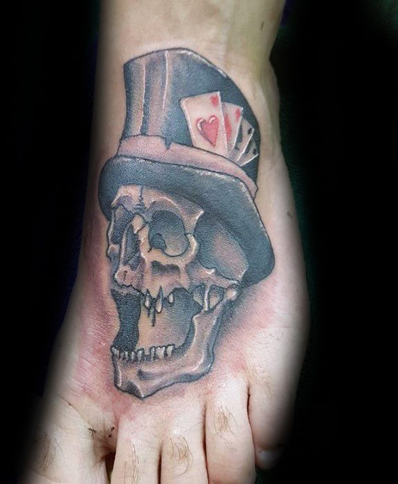 30 skull with top hat tattoo designs for men manly ink ideas for Mens foot tattoos