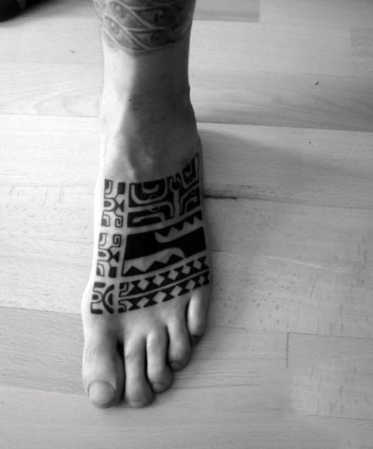 Foot Sleeve Guys Tribal Hawaiian Tattoo Ideas