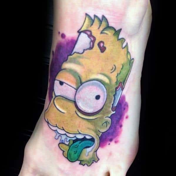 Foot Zombie Themed Mens Cool Bart Simpson Tattoo Ideas
